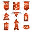 Arrows set. Red sale and discount announcements - Stock Vector