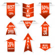 Stock Vector: Arrows set. Red sale and discount announcements