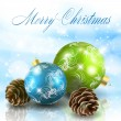Royalty-Free Stock Imagem Vetorial: Christmas balls with cones on light blue background
