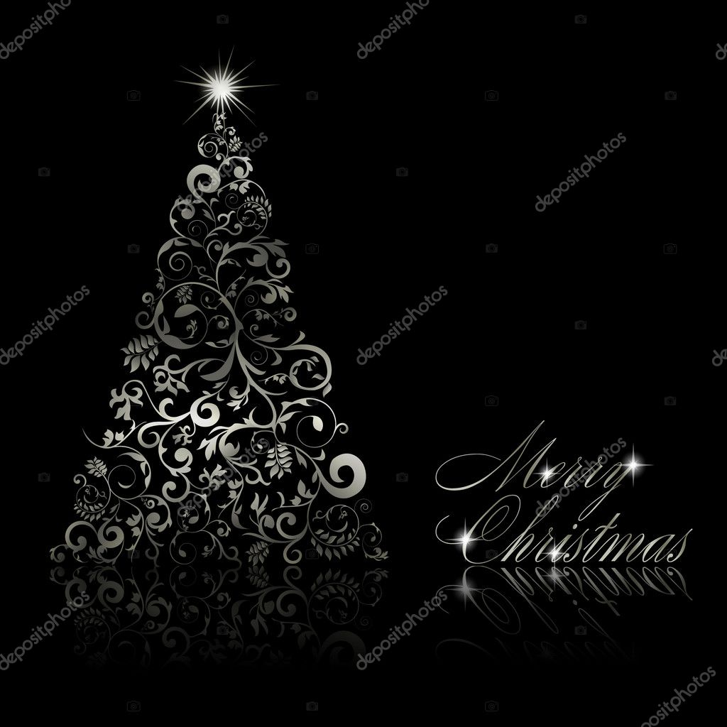 Christmas tree with swirls and floral elements on black background. Vector eps10 illustration — Stock Vector #7401392