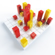 Stock Photo: Abstract yellow and red metallic cubes