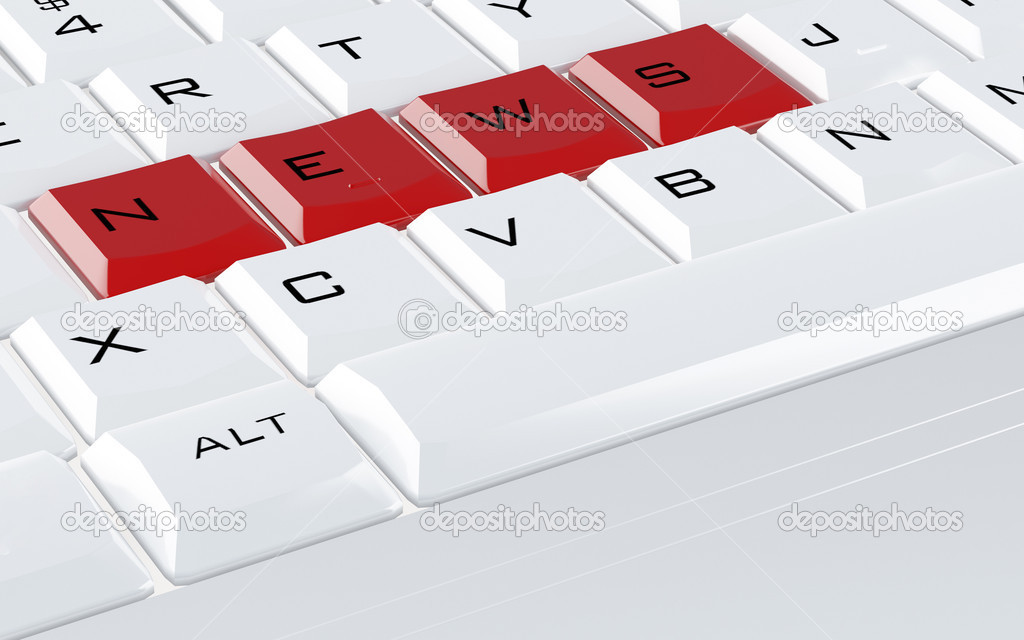 White computer keyboard with the red buttons news — Stock Photo #6867844
