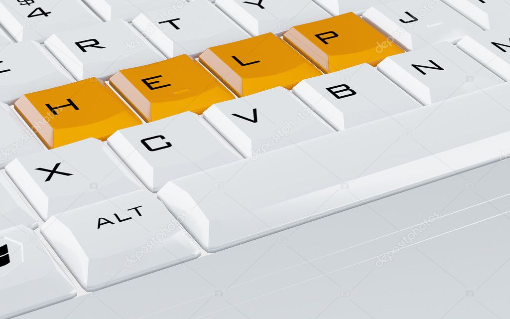 White computer keyboard with the orange buttons help — Stock Photo #6867868