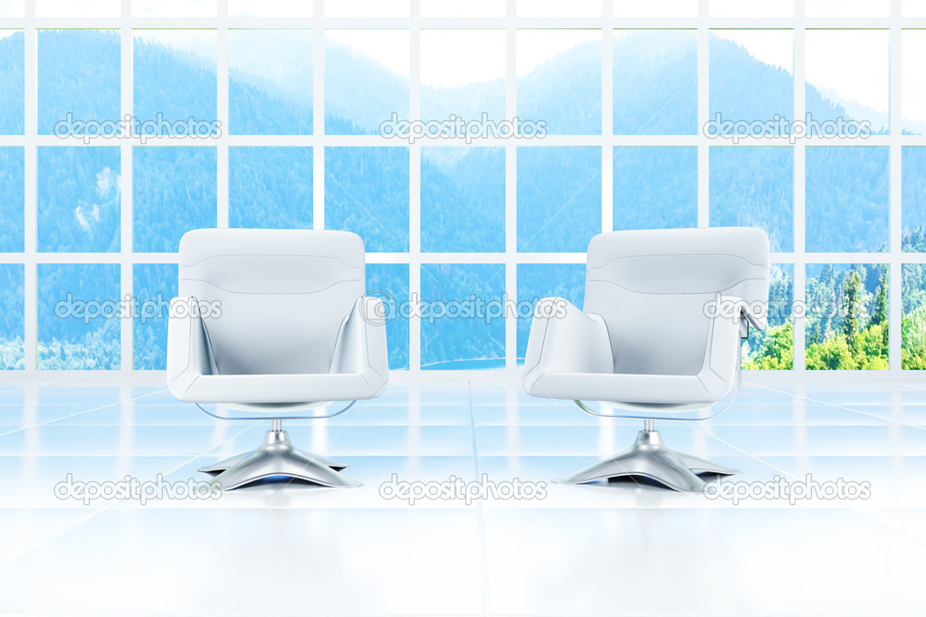 Two armchairs in a light room and a landscape in a window  Stock Photo #6867882