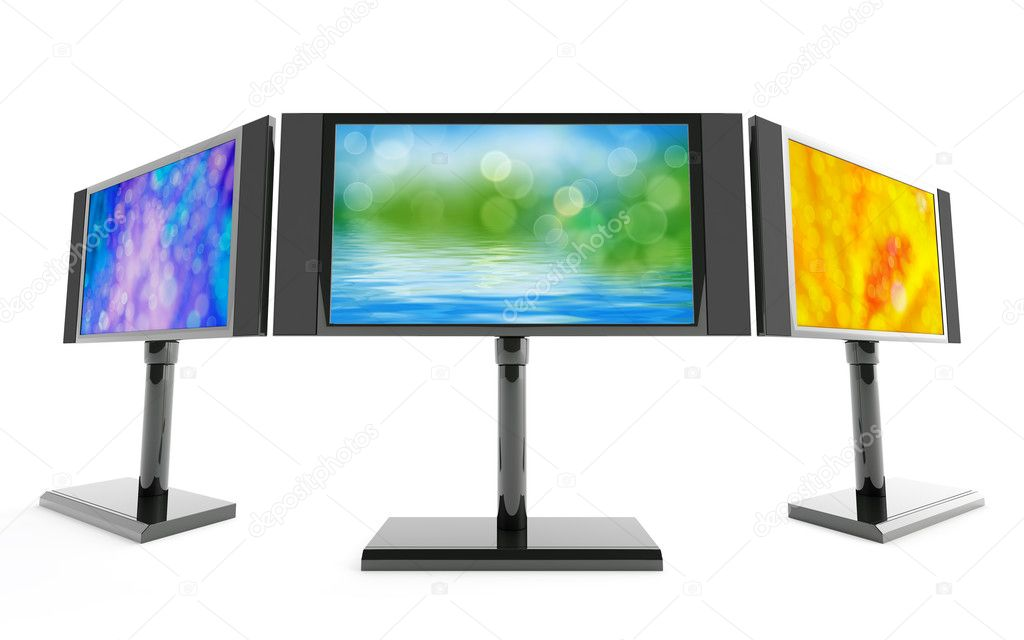 Modern monitors with bright images on white background — Stock Photo #6867884