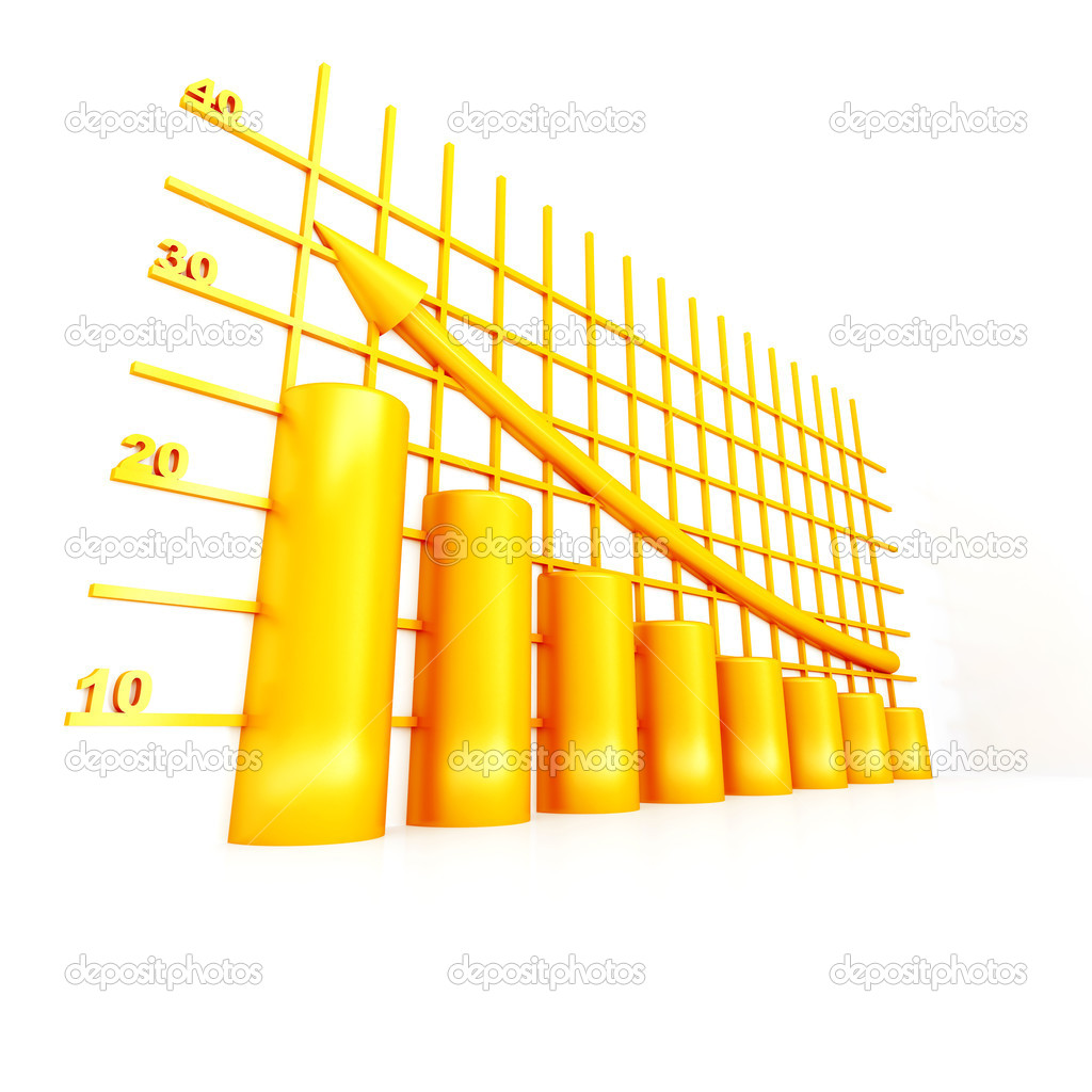 Yellow columns of diagram with arrow rising upwards  Stock Photo #6968797