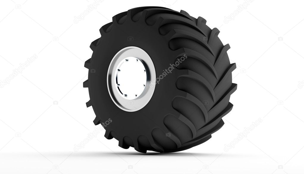 New wheel on shiny disks from a track  Stock Photo #6968805