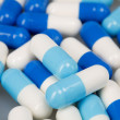 Set of white blue tablets — Stock Photo