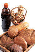 Kvass and grain products — Stock Photo