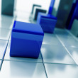 Stock Photo: Blue metallic cubes