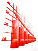 Red glass columns — Stock Photo