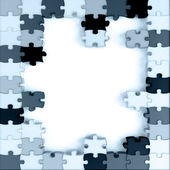 Blue toned parts of a puzzle — Stock Photo