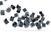 Falling and hitting gray metallic cubes — Stock Photo