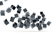 Falling and hitting gray metallic cubes — Stock Photo