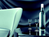 Sofa table and drinks — Stock Photo