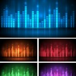 Colored music spectrum set — Stock Vector