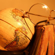 Stock Photo: Old globe with Book