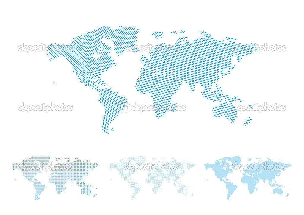 World map halftone set, four different versions with perfect shapes, vector illustration — Stock Vector #6754346