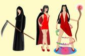 Halloween set. Vampire, sorceress, grim reaper — Stock Vector
