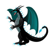 Cartoon black dragon — Stock Vector