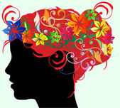 Girl silhouette in profile with long floral hair — Stockvector