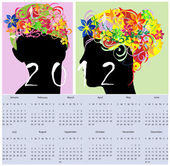 Girl silhouette with floral hair calendar — Stock Vector