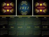 Vintage gold frame calendar — Stock Vector