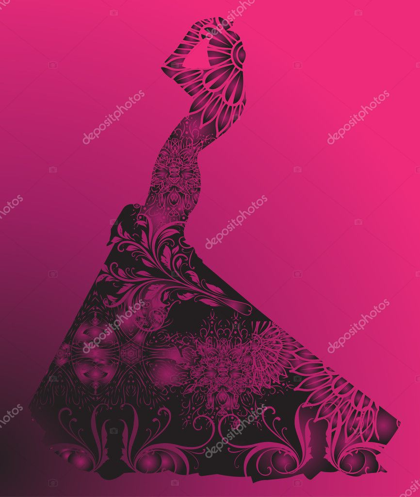 Silhouette of woman with flowers — Stock Vector #7800936