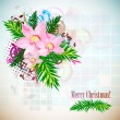 Elegant Christmas background with orchids. Vintage style — 图库矢量图片
