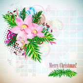 Elegant Christmas background with orchids. Vintage style — Stock Vector