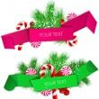 Royalty-Free Stock Векторное изображение: Vector set of origami paper banners. Christmas design