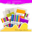 Colorful little notes on white background with space for text — Stock Vector