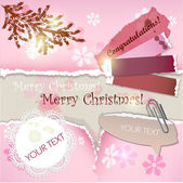 Colorful little notes with space for text. Christmas design — Stock Vector