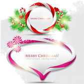 Abstract glossy speech bubble with Christmas candy. Vector backg — Stock vektor
