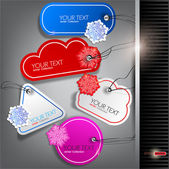 Set of winter bubbles, stickers, labels, tags. Vector illustrat — Stock Vector