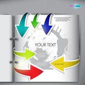 Página con colorido estilo flecha bookmarks — Vector de stock