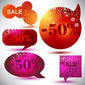 Venta de navidad. brillantes burbujas de discurso — Vector de stock
