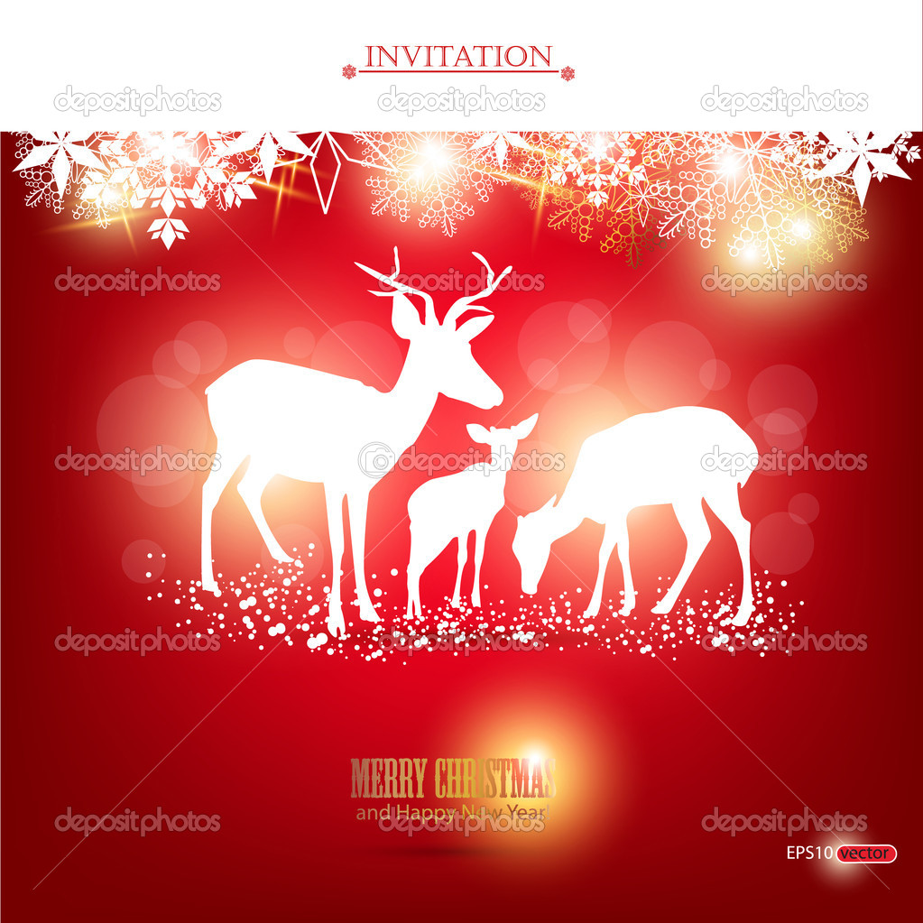 Elegant Christmas background with deers. Vector Illustration with place for text.  Stock Vector #7847900