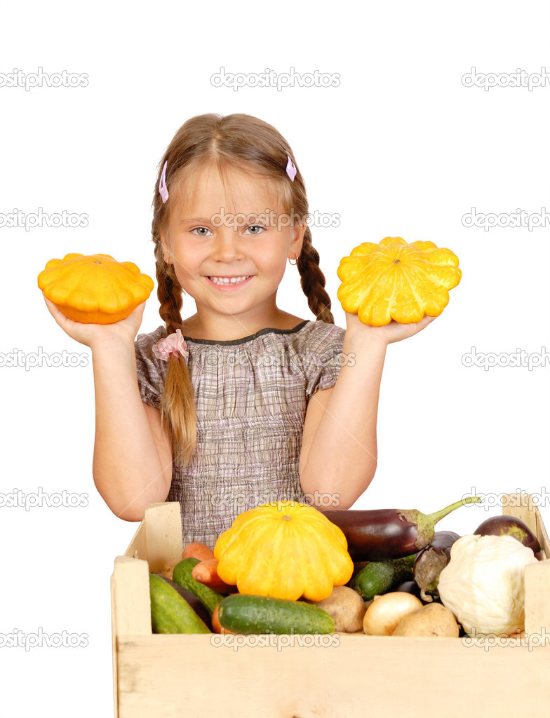 Little girl with vegetables. Isolated over white  — Stock Photo #6955181