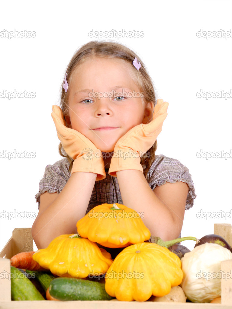 Little girl with vegetables. Isolated over white  — Stock Photo #6955202