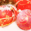 Two decorative red Christmas balls on a snowy scene — Stock Photo #7449702
