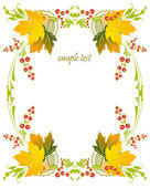 Framework with a pattern from autumn leaves and berries — Stock Vector