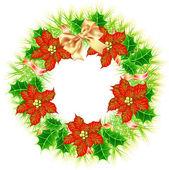 Christmas wreath with poinsettia — Stock Vector