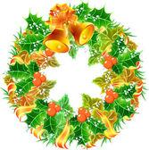 ハンドベルとクリスマスの花輪 — ストックベクタ