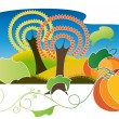 Autumn Landscape with two pumpkins — Vector de stock