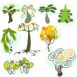 Set of nine different trees — ストックベクター #7437989