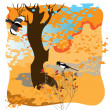 Two magpies — Stock Vector