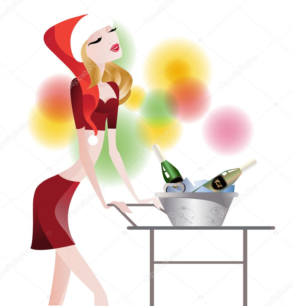 Glamorous waitress carries champagne in a bucket of ice on a serving table — Stock Vector #7565822