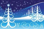 стилизованные зимний пейзаж — Cтоковый вектор