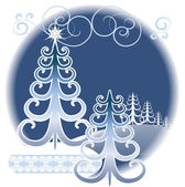 Stylized winter forest — Stock Vector
